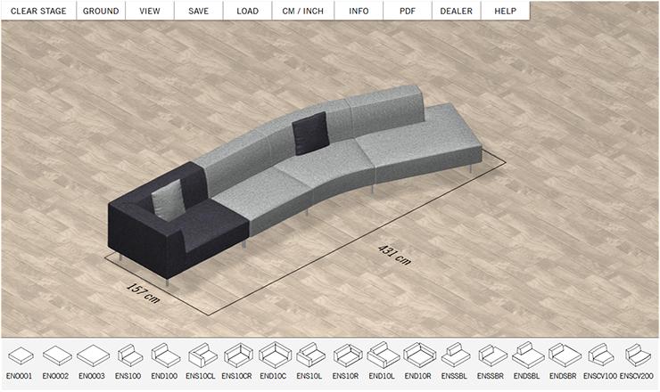 Vier Sofa Module mit Bemaßung