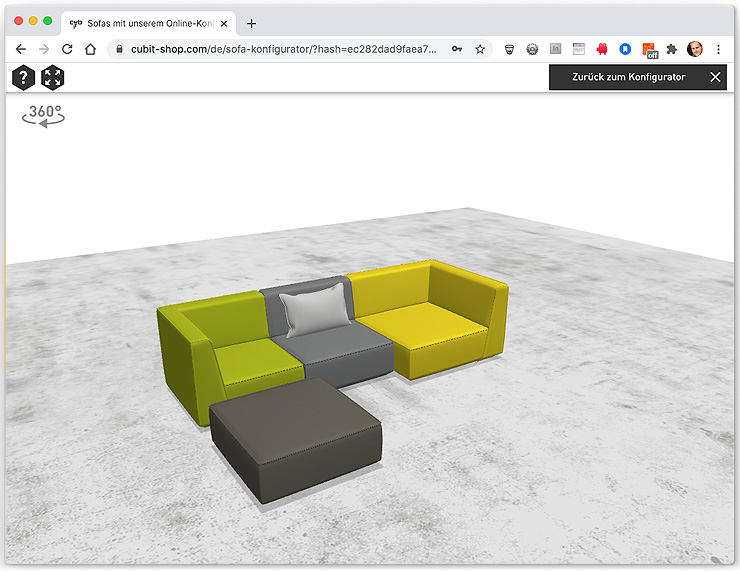 Isometrische Ansicht der Sofakonfigruation